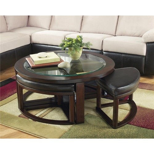 Marion Glass Round Cocktail Table w/ 4 Backless Stools by Signature Design by Ashley - Royal Furniture - Cocktail or Coffee Table Memphis, Jackson, TN, Southaven, MS, West Memphis, AR