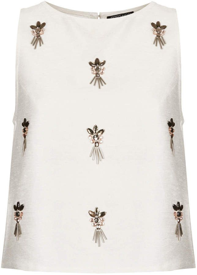 Cluster embellished shell top