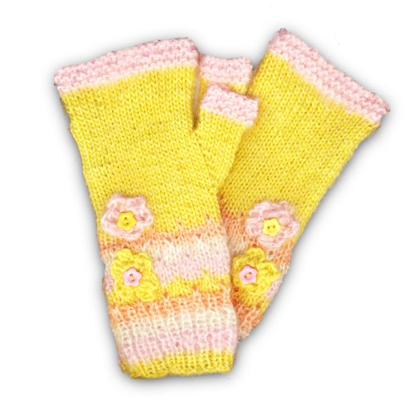 Hand Knitted Fingerless Gloves - Easter Yellow, Paradis Terrestre - Quality Greeting Cards, Gifts, Hand Knits, Luxury Christmas Decorations, Luxury British Made Accessories and Homeware