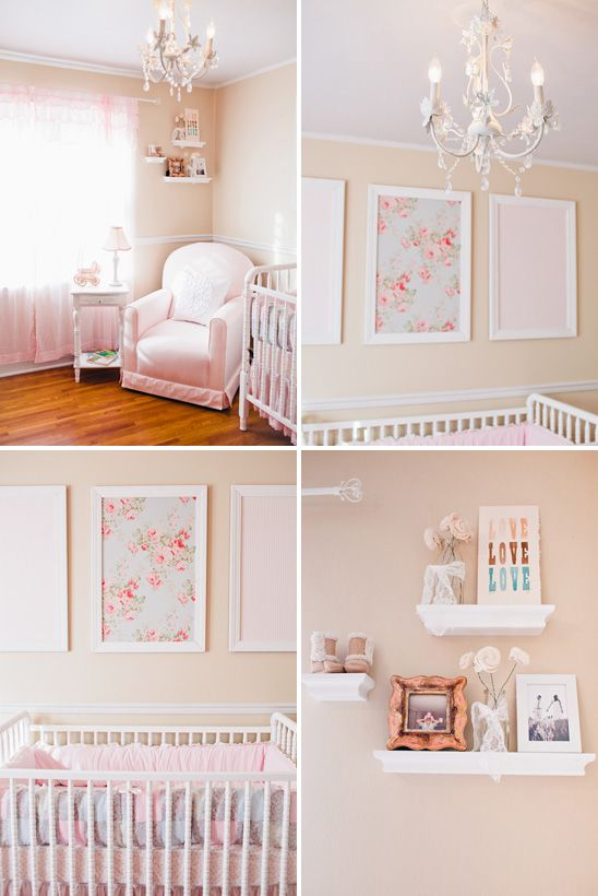 Pink Peach And White Nursery I Like The Framed Fabric Might Try This For Jo Love Picture Frame