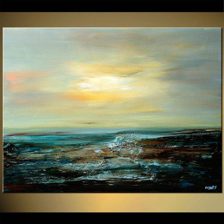 Original abstract art paintings by Osnat - abstract seascape