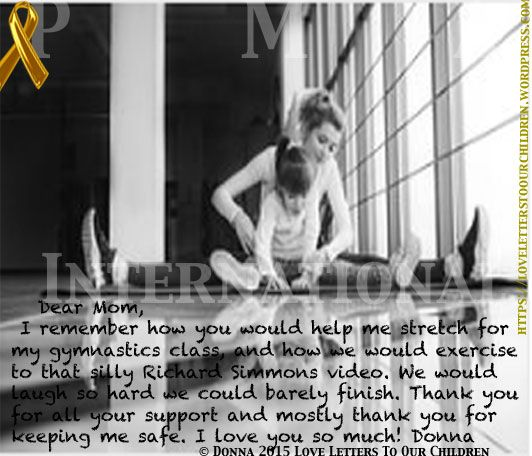 """PMA International's Love Letters To Our Children. """"Gymnastics Class"""" By Donna- A child's Love Letter to her Mom"""
