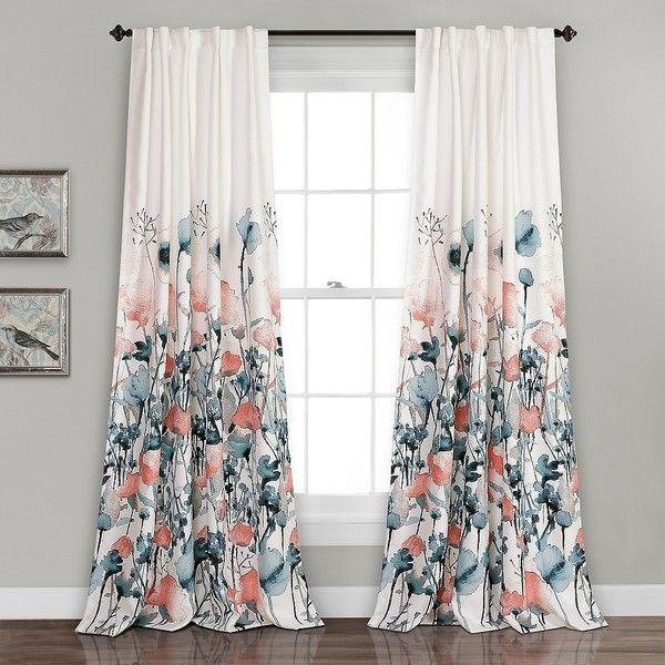 Zoe Floral Blue Coral Curtain Panel Set 84 In 65 Liked On
