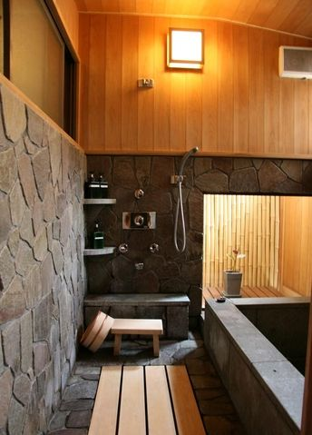Japanese style bathroom. That bathtub is actually below floor level. I SO WANT THIS!!
