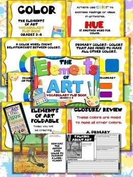 The Elements of Art Complete Power Point Lesson and Activity- UNITThis lesson has everything you need to teach The Elements of Art!Grades 3-8 / 7- 10 day unit / 162 slidesLearn about The Elements of Art: Line, Shape, Texture, Value, Color, Form and Space.Create a vocabulary flip book with each of The Elements of Art.This easy to use Power Point Lesson includes:Lesson Objective and National StandardExamples of how each of The Elements of Art are used in artworksDefinition and visual examples…