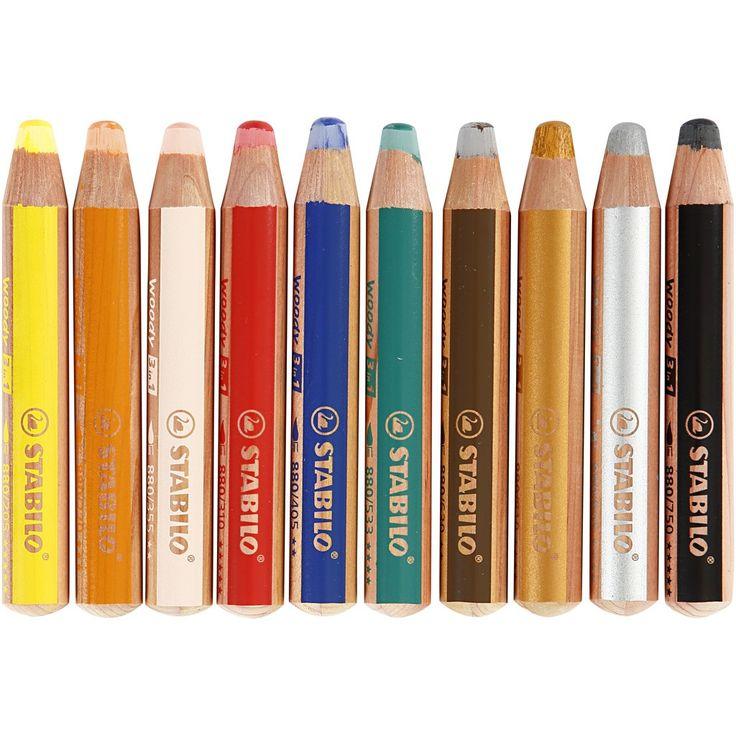 Woody 3-i-1 färgpennor, kärna: 10 mm, L: 11 cm, mixade färger, 10st., tjocklek 16 mm