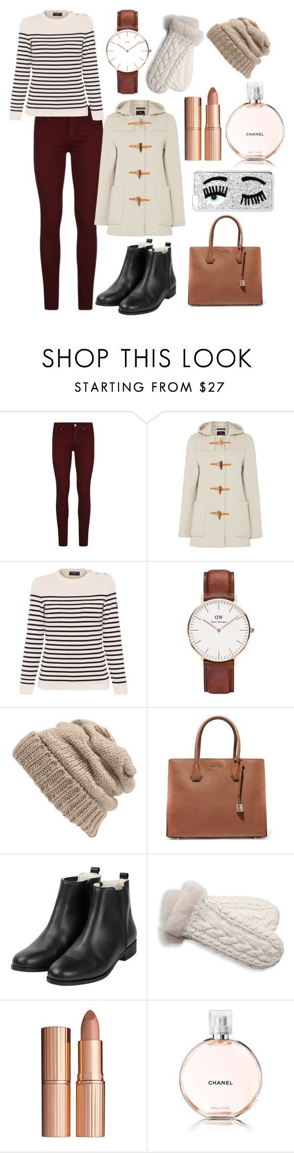 """A wintery fall outfit!"" by maddie-dobson ❤ liked on Polyvore featuring Paige Denim, Gloverall, Saint James, Daniel Wellington, Leith, MICHAEL Michael Kors, UGG Australia, Charlotte Tilbury, Chanel and Chiara Ferragni"