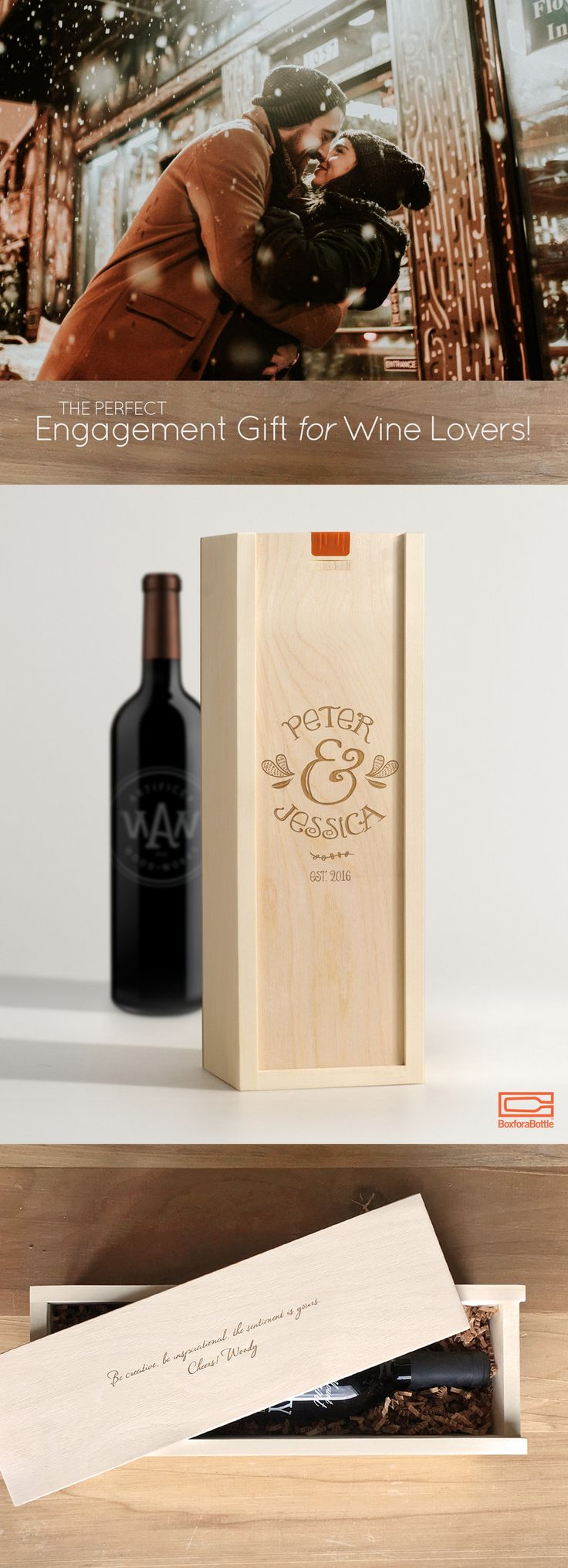 """Personalized Engagement Gifts for Wine Lovers! A keepsake they will cherish long after the wine is gone. Pictures : """"Oh Darling"""" wine box from BoxforaBottle. Cheers!"""