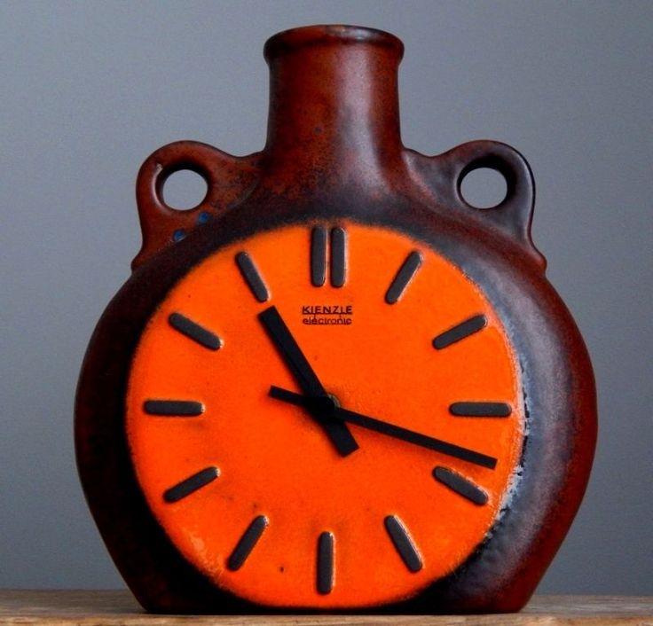 RETRO 70's Vintage CARSTENS KIENZLE Orange Clock German Pottery Fat Lava Vase E