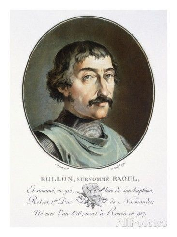 Rollo of Normandy (c.846-c.932) Son of Rognvald Eysteinsson. Illustration from, 'Portraits of great men, famous women, and memorable subjects of France, serious and color prints'