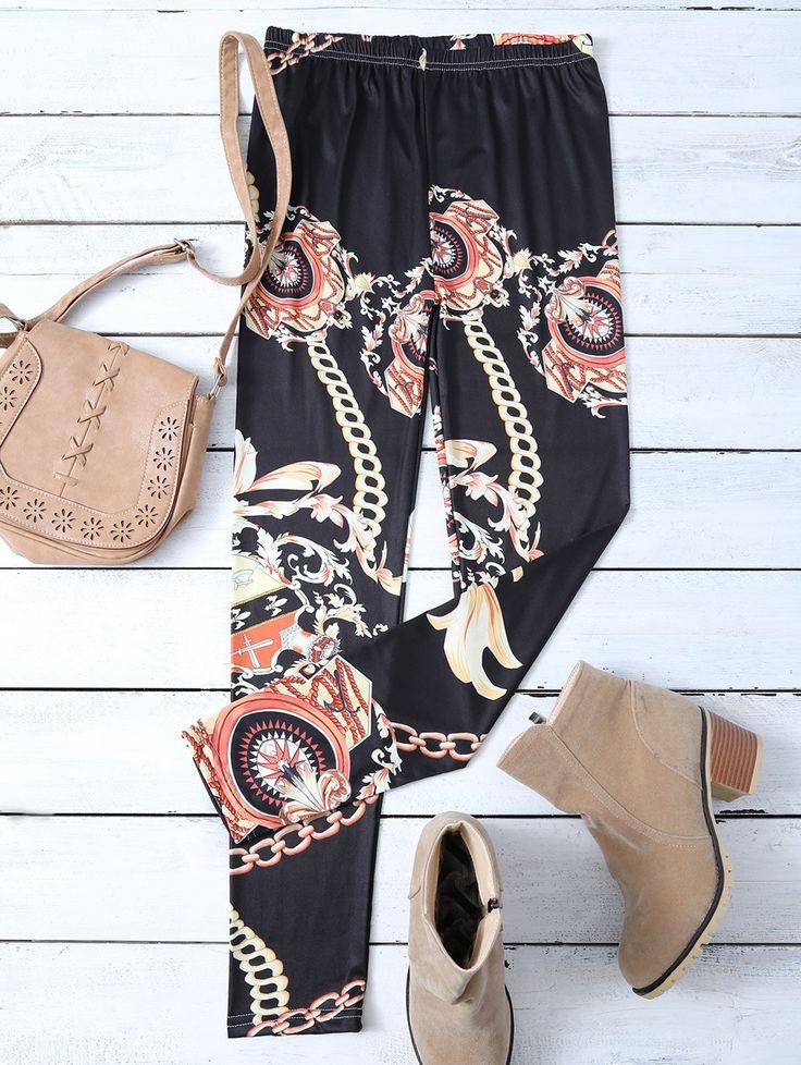 Gold Chain Patterned Leggings #shoes, #jewelry, #women, #men, #hats