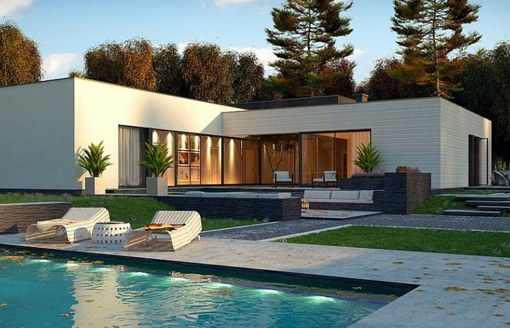 Projekt gotowy -bungalow house- dom parterowy w kształcie litery L - k chen bei dom ne