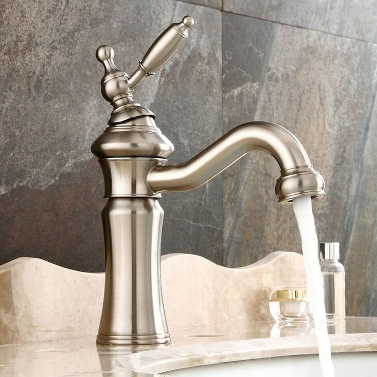 Vintage Deck Mounted Single Lever Single Hole Solid Brass Bathroom Sink Faucet in Brushed Nickel Solid Brass – Bathroom Sink Faucets – Bath & Faucets
