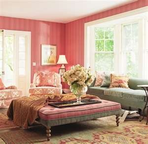 sick ottoman.. could spend my whole day laying on it : Decor, Coral, Living Rooms, My Rooms, Living Spaces, Color, Pink Rooms, Annie Selk, House