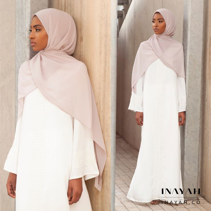INAYAH | Be culturally contemporary in our exquisite kaftans - Ivory #Kaftan with Lace - also available in Mustard + Feather Grey Peach Skin #Hijab www.inayah.co