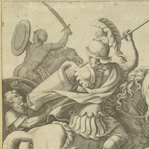 """Combattimento intorno al corpo morto di Patroclo, terzo quarto del XVI secolo. (Milano, Raccolta delle Stampe """"A. Bertarelli"""")"""