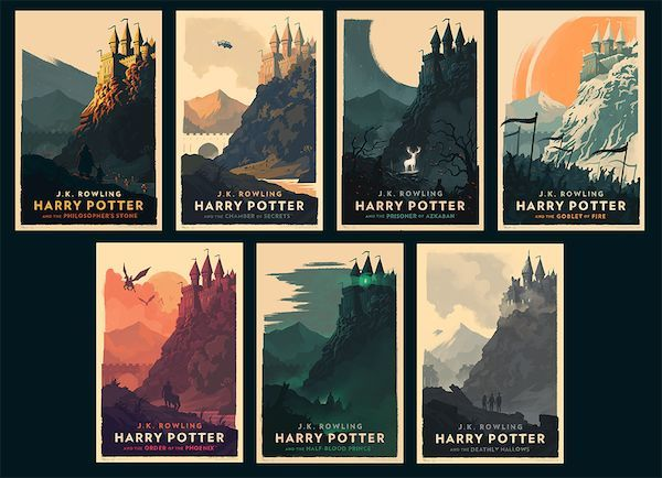 The pieces of art were designed by the artist Olly Moss and were created to act as the covers for German audio books of the Harry Potter series.