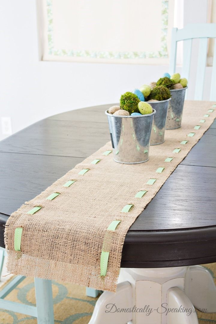 Spring Runner: Burlap and Green & White Chevron Ribbon you can easily customize this runner with any color ribbon - it's NO SEW which makes it a winner for me!
