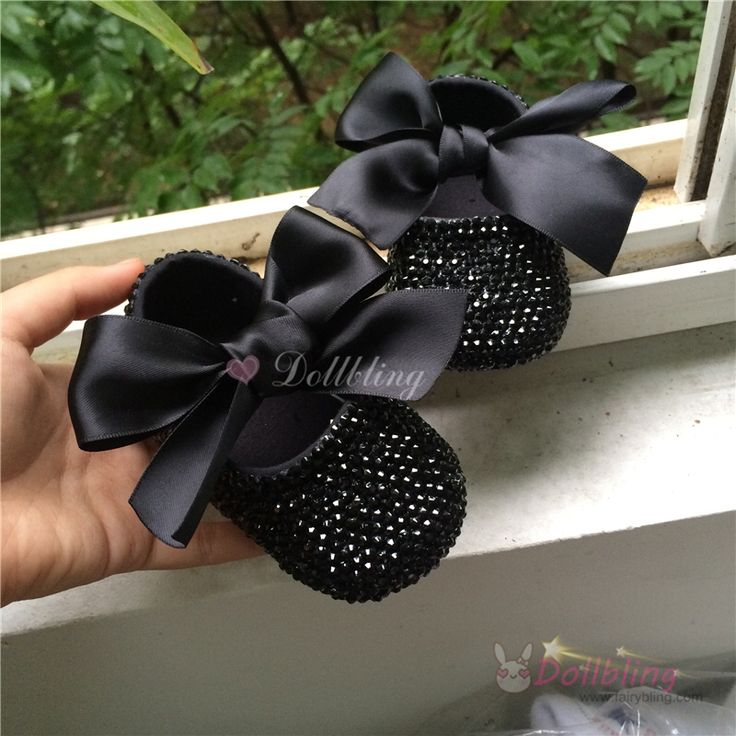 Dollbling Bontique Black Rhinestones Baby fantasy shoes limited edition Custom for buyer luxury princess 0-1 infant walkers