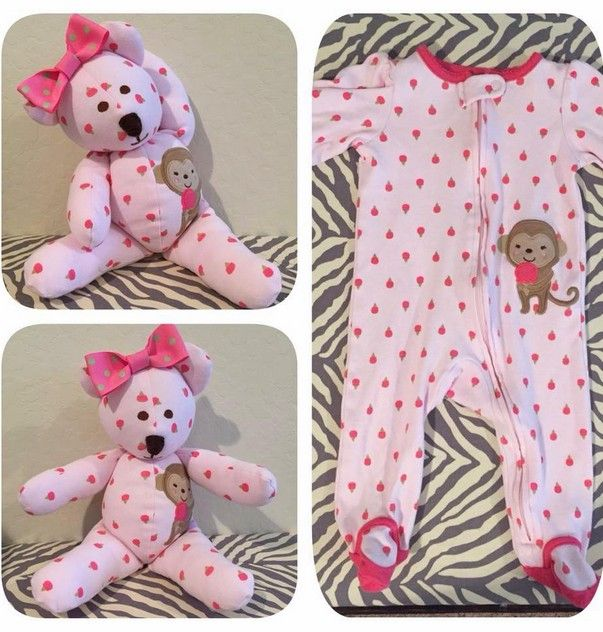 Use a small bear pattern and cut out the pieces from baby's sleeper or blankie or anything!!