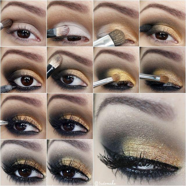 Passo a passo maquiagem dourada e preta para noite. - Tudo Make – Maior blog de maquiagem, beleza e tutoriais de Curitiba.