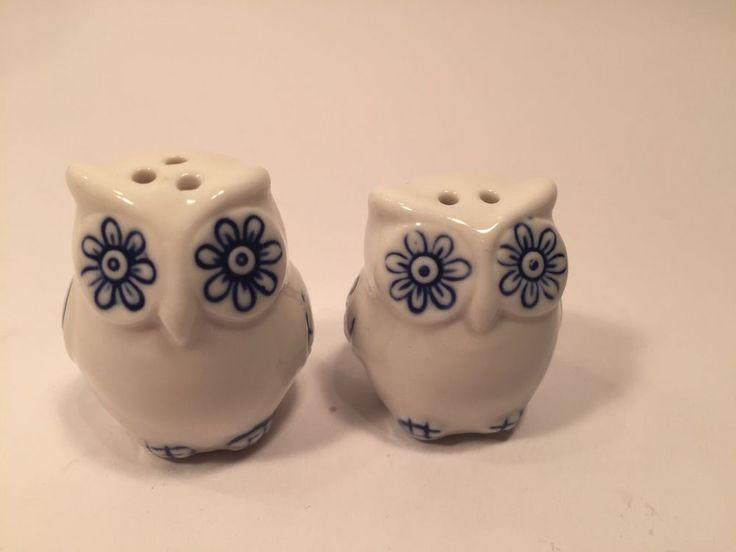 Cracker Barrel Mini 2016 White & Blue Owl Novelty Salt & Pepper Shakers Ceramic X