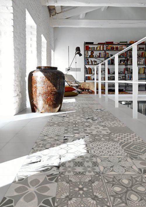 Snygga klinkers-plattor med marockanskt mönster i grå toner, från Lhådös kakelserie Believe.