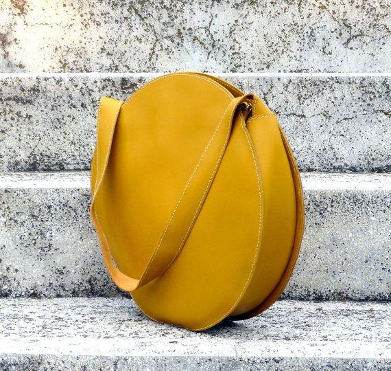 Mustard yellow tote bag, circle bag, leather handbag, leather shoulder bag