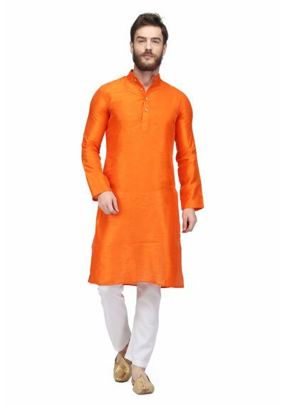 Orange Colored Raw Silk Mens Kurta Pajama By Pret A Porter