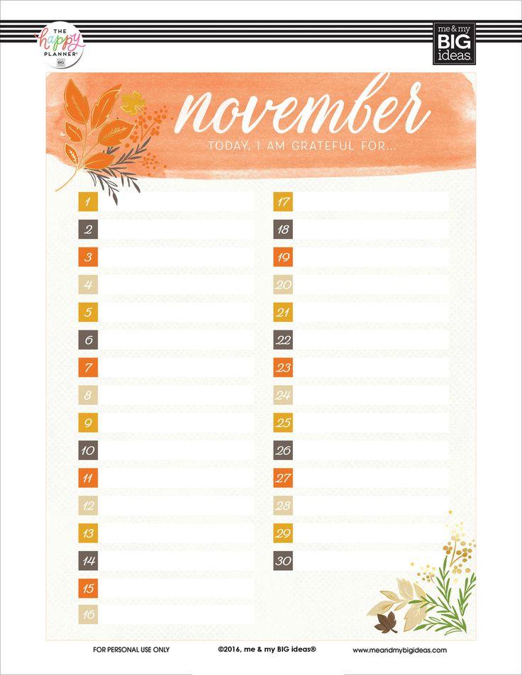 Happy With Printables Calendar November : November i am grateful for freebie planner