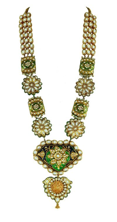 green and gold long raani haar, meenakari necklace