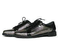 Блестящие туфли без каблука Т-78