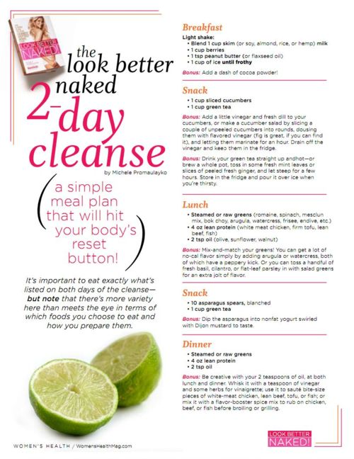 2-Day Cleanse - I could handle a two day cleanse.2 Day Cleaning, Fit, Simple Meals, Diet, Food, 2 Day Cleanses, Better Naked, Water Weight, Health