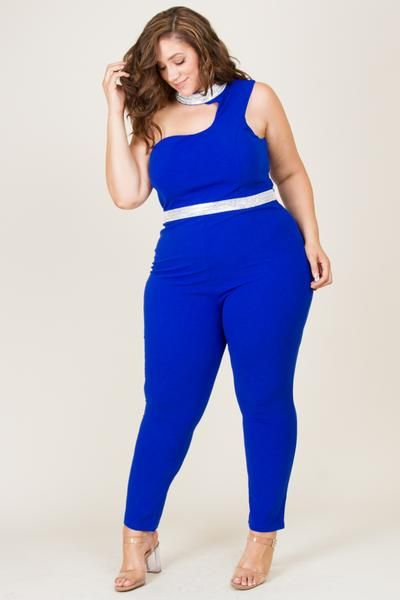 4995caad21fdc Plus Size One Shoulder Neck Wait Bling Gorgeous Jumpsuit With Back Zipper  Model Wearing 3X 95% Polyester 5% Spandex