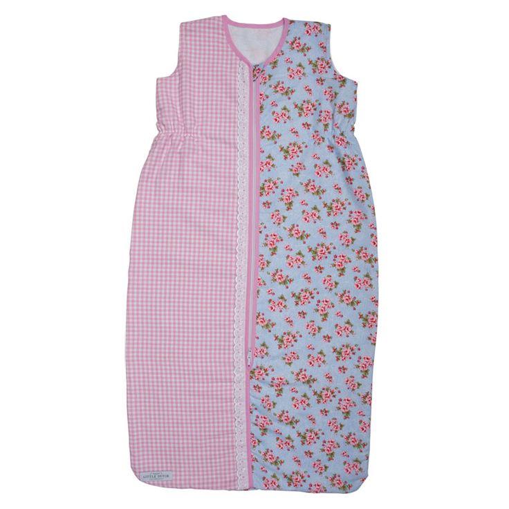 Sommer-Schlafsack hellblau mit Rosen
