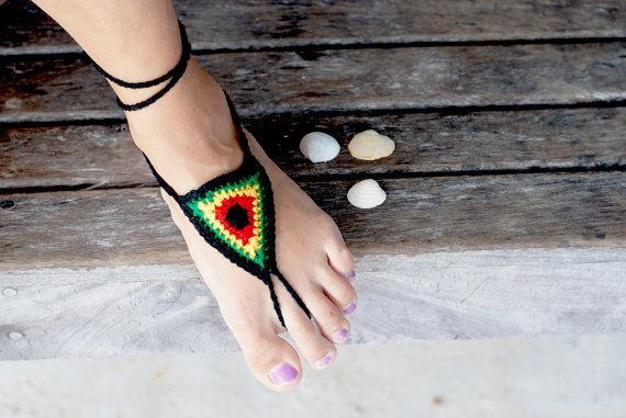 Crochet Barefoot Sandals In Rasta Colors And Belize Spirit, Bob Marley, One Love, Caribbean Colors, $12.00