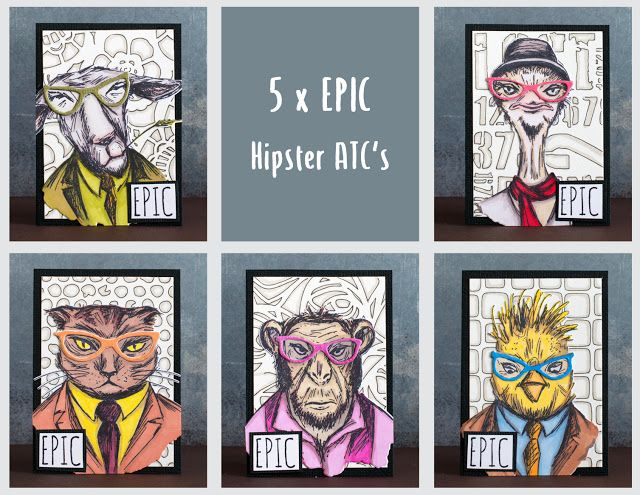 Hipster ATC's with Tim Holtz stamps and Sizzix dies #hipforsummer  -by Elina Stromberg-