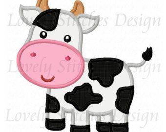 No diseño de niña vaca apliques bordado de por LovelyStitchesDesign