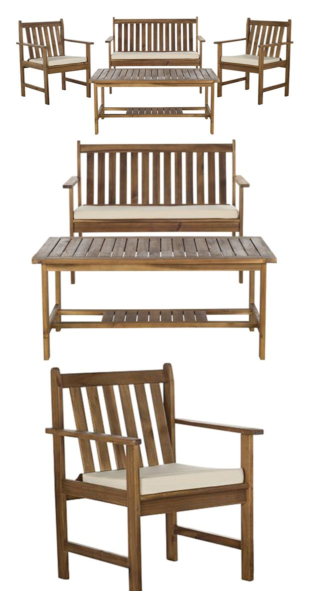 Bring a touch of rustic charm to your patio or garden hangout with this gorgeous Rosewood Outdoor Dining Set. Made from eco-friendly acacia wood, this set offers a modern take on classic Shaker-style f...  Find the 4-Pc. Rosewood Outdoor Dining Set, as seen in the Industrial Outdoor Living Boutique Collection at http://dotandbo.com/collections/industrial-outdoor-living-boutique?utm_source=pinterest&utm_medium=organic&db_sku=118187