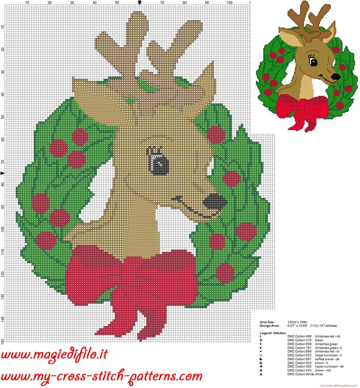cross stitch pattern garland christmas reindeer