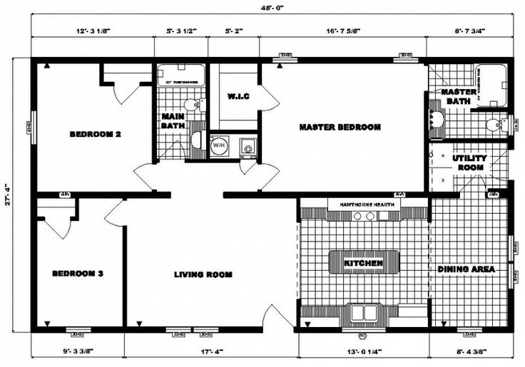 Ranch House Plans 28x 48 28 X 48 Approx 1312 Sq Ft 3