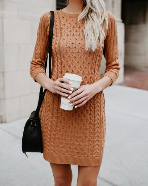 ec44737a7c7c Meet Me In The Lodge Cable Knit Sweater Dress- Camel | Fall Look in ...