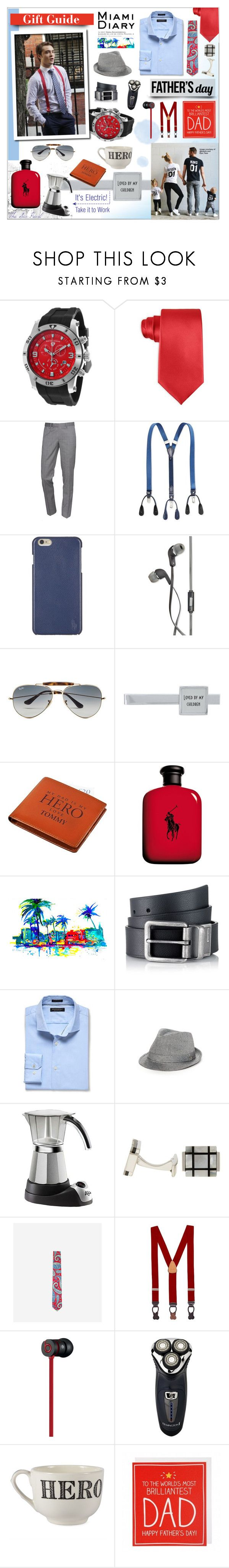 """Father's Day Gift Guide: For the Hero & King of our home"" by theseapearl ❤ liked on Polyvore featuring Swiss Legend, John Ashford, The Kooples, Tommy Hilfiger, Polo Ralph Lauren, Polaroid, Ray-Ban, Ralph Lauren, Calvin Klein Jeans and Banana Republic"
