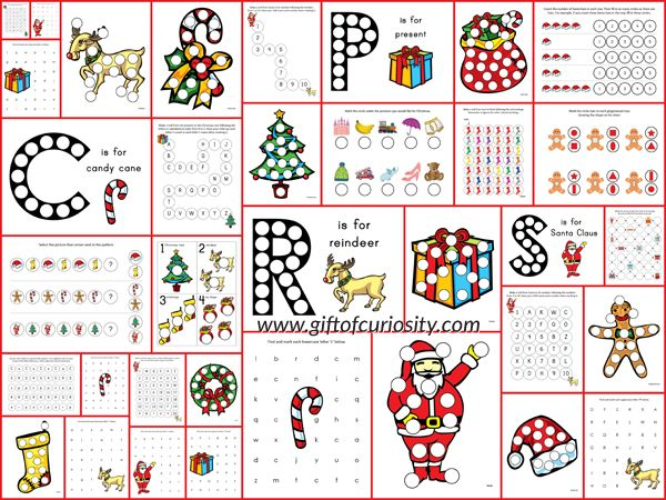 Christmas Do-a-Dot Printables: 35 pages of Christmas Do-a-Dot Worksheets for kids ages 2-6. Love the letter and number worksheets as well as the bright graphics in this pack! #freeprintables || Gift of Curiosity