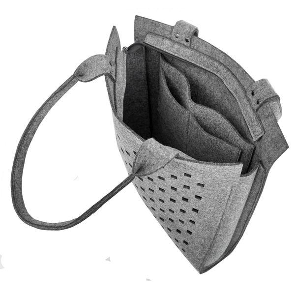 Schultertaschen - Felt Bag - Classic Bag mod.5 - gray with holes - ein Designerstück von Beltrani bei DaWanda