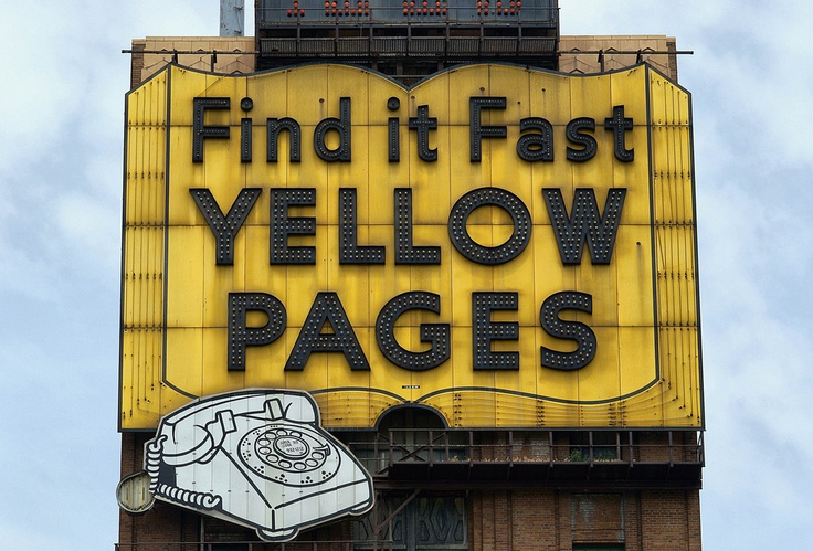 Yellow Pages....in the days when we let our fingers do the walking....through the yellow pages.
