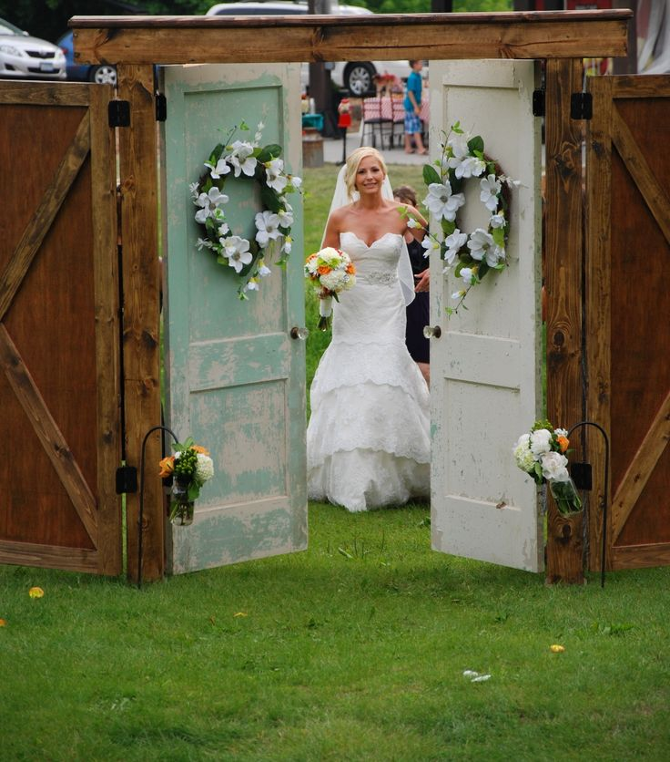 Amazing wedding here at Historic Hope Glen Farm. This door way was made by the groom placed in the pasture right over the bridge.