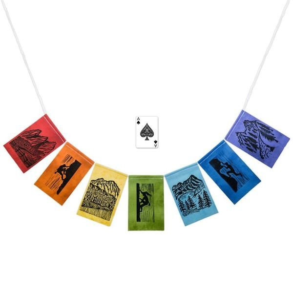 A modern take on traditional prayer flags. Handmade flag styles include camping, outdoors, hiking, hammock camping, rock climbing & inspirational quotes. Gift!