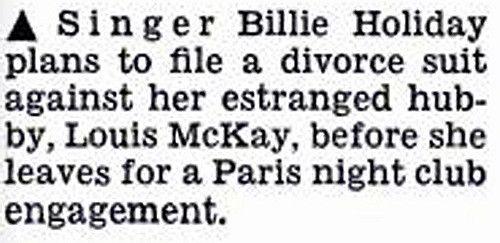 Billie Holiday to File Divorce Papers on Louis McKay - Jet…   Flickr