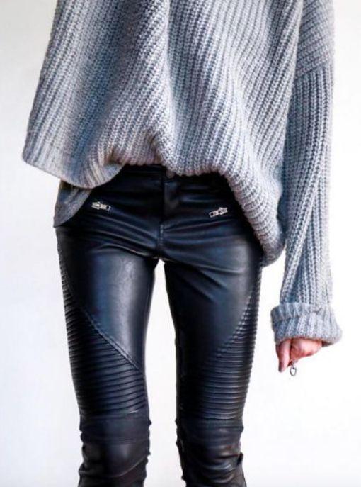 rib sweaters + moto